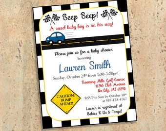 Car Beep Beep! Baby Boy is on the Way Shower Invitations