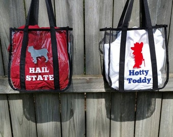 Clear tote bag GameDay Stadium clear Bag clear bag policy state football mississippi purse