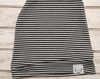 Striped sweater knit beanie