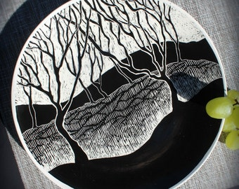 Hand Carved Black & White Sgraffito Plate of Trees/Forest