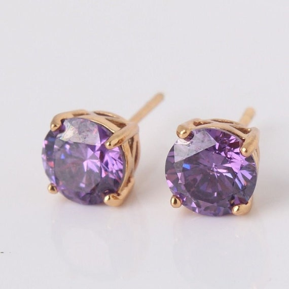 Lovely 18 ct rosegold filled purple sapphire crystal stud earrings