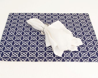 Reversible Navy Blue Placemats in Set of Four, Placemats in Fabric Choice from Navy Collection