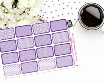 Planner Stickers |Purple Patterned Half Boxes|For use in a wide variety of planners and journals|MKB006