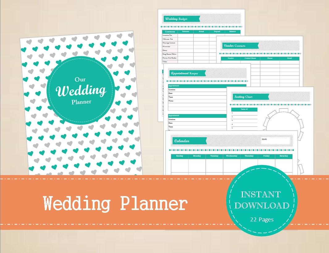 Printable Wedding Planner Binder Planning A Rustic: Wedding Planner Wedding Binder Printable And Editable