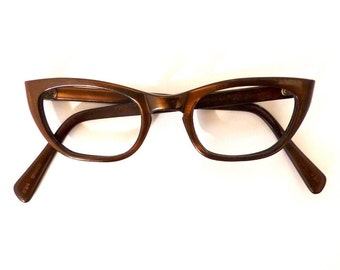 Cat Eye Eyeglasses// Vintage 1950's 1960's //Women's Bronze //#M85