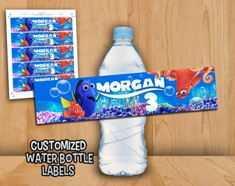 Finding Dory Bottle Labels - Finding Dory Nemo Water Labels Customized - Finding Dory Birthday Party Printable Dory Nemo