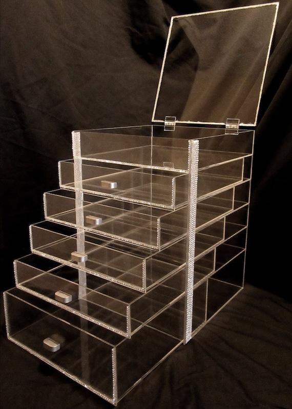 Large Rhinestone Acrylic Makeup Organizer Dazzlebox