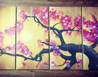 Blooming Branch Panel Painting