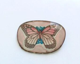 Vintage Pink Butterfly Brooch