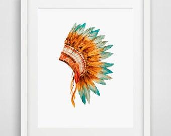 Tribal Headdress, Downloadable Art, tribal print, tribal poster, tribal, printable art, printable teen gift, tribal art, tribal decor, Print
