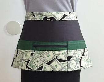 Vendor Apron with zipper, READY TO SHIP, 9 Pocket Apron, Utility Apron, Half Apron, Crafter Apron, Money Apron, Craft Show Apron, Cash Apron