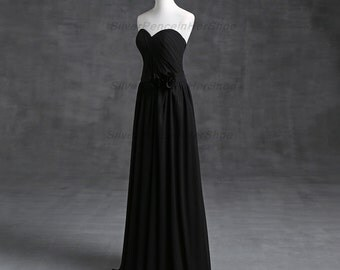 Black Sheath Gown Dress with Waistband