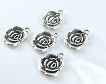 17x14mm Antique Silver Alloy Rosette Charm Pendant Black Accent Coloring Detailed Design,15pcs/PK 2mm hole opening 2mm thickness