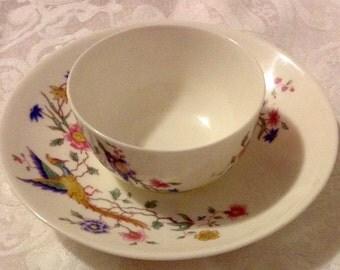 Royal Doulton China ~ Furness Bermuda ~ LITTLE Vintage Open Sugar Dish & Saucer to Match  ~ Bird of Paradise