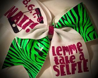 SELFIE Bow~Zebra CHEER Bow