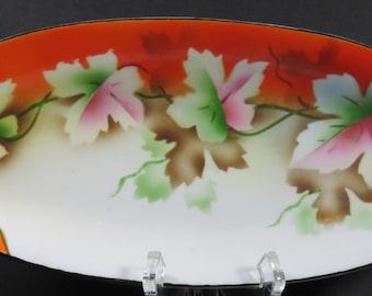 Antique Dish Prov Saxe ES Hand Painted Germany Porcelain Erdmann Schlegelmilch Relish Celery Dish Maple Leaves