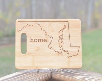 "Maryland State ""Home"" Bamboo Cutting Board Maryland Pride Home State Maryland Map Engraved Cutting Board"