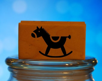 Baby Rocking Horse Rubber Stamp Mounted Wood Block Art Stamp
