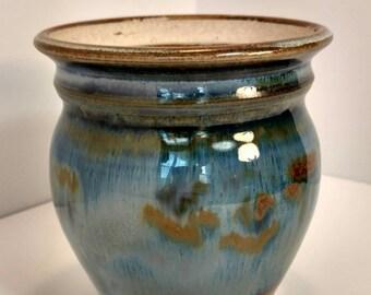 Blue glazed ceramic planter