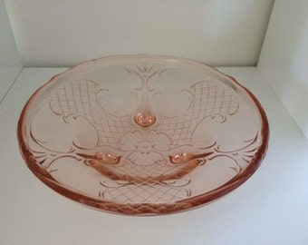 8-Inch Pink Glass Bowl with Lattice Pattern