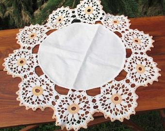 Round Crochet Doily, Peach and Cream Crocheted Doily, Vintage Home Decor