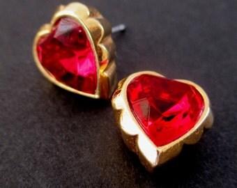 Red Heart Earrings * AVON Earrings * For Pierced Ears * Gift For Her