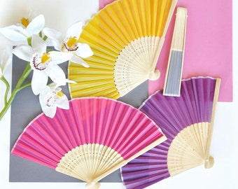 25 Colored Silk Fans - 25 Pieces
