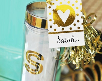 Personalized Bridesmaids Gifts - Bridal Party Gifts - Birthday Gifts - Metallic Gold Monogram Tumblers -