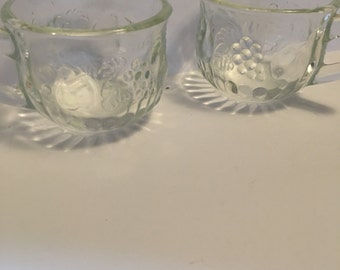 Two Clear Glass punch cups...