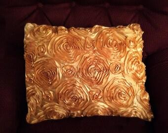 Gold satin rosette pillow cover, decorative pillow, toss pillow, throw pillow, various colors available