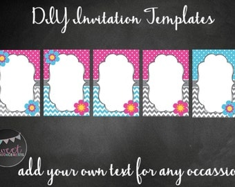5 DIY blank card templates - personal and commercial use - no license required! (chevrons, dots, flowers) - T011