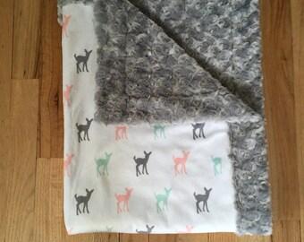 Deer Minky Baby Blanket