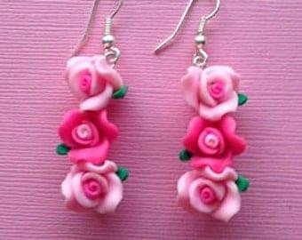 Lady In Pink Earrings, Hand Made Earrings, Hand Made Jewelry, Romantic Earrings