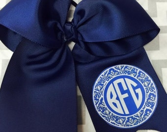 Navy printed initial cheer bow
