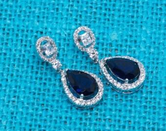 Sapphire Earrings, Bridal Sapphire Earrings, Bridal Earrings, Wedding Jewelry, Bridesmaid Earrings, Cubic Zirconia Sapphire Earrings