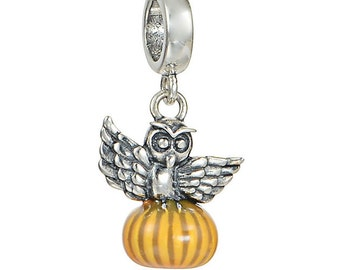 New GENUINE Sterling Silver 925 Halloween Owl Pumpkin dangle charm for European Bracelets
