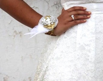 Custom vintage style bracelet corsage cuff bracelet with stunning jewels, pearls, lace and/or feathers jerosaje corsage