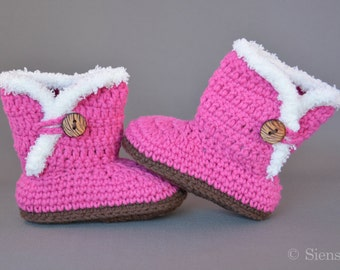 Pink baby Uggs, Crocheted baby booties, Handmade baby shoes, 3-9 months