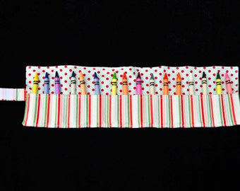 Spots and Stripes 'Swanson' Crayon Roll, fabric crayon roll, handmade crayon roll, crayon roll, crayons, colouring