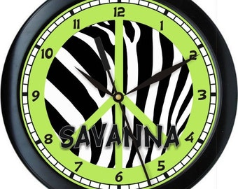 """Green and Black Peace Zebra 10"""" Wall Clock Personalized Girls Room Decor Gift"""