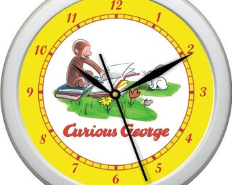 "Curious George VINTAGE Personalized 10"" Nursery / Children Wall Clock"