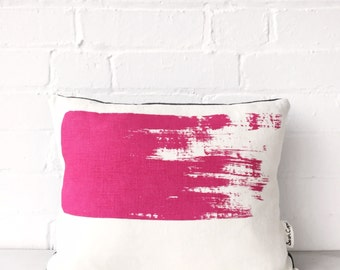Bold brushstroke cushion: magenta small // Handmade screen printed cushion pillow in natural linen fabric