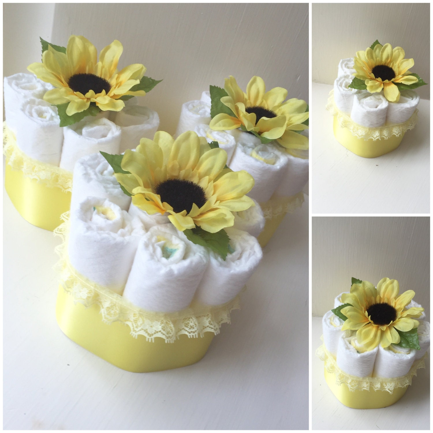 Sunflower baby shower diaper cake centerpieces diapers for