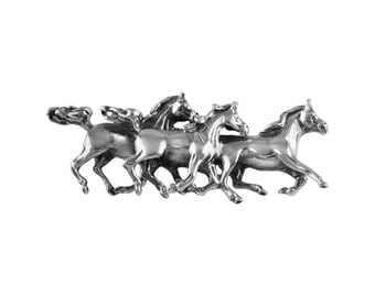 925 Sterling Silver Galloping Horses Oxidised Brooch