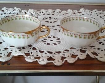 2 Haviland Limoges Cups, #113 Clover Pattern Tea Cups