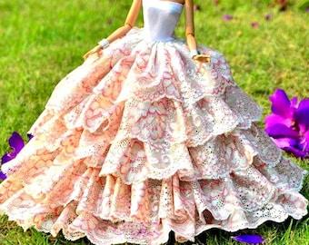 Barbie doll clothes, With POCKETBOOK & BARBIE SHOES, Colorful Barbie Gown, Barbie dress, Barbie ballgown, Barbie doll, Barbie fashion