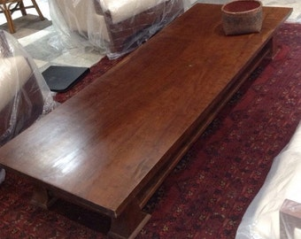 Zen Asian mid century style table enhancing antique wood