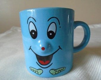 blue small face mug