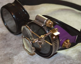 Black and Purple Steampunk Goggles with Brass Accents and Magnifying Loupes Mad Scientist Optic Conductors Welding Motorcycle Victorian
