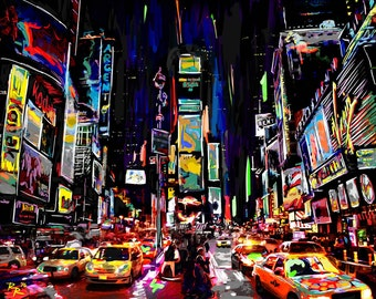 Times Square Art Print, New York Art, NYC painting
